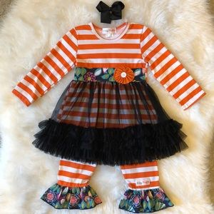 VGUC 3T Sassy Ruffles Fall/Halloween Outfit w/ Bow